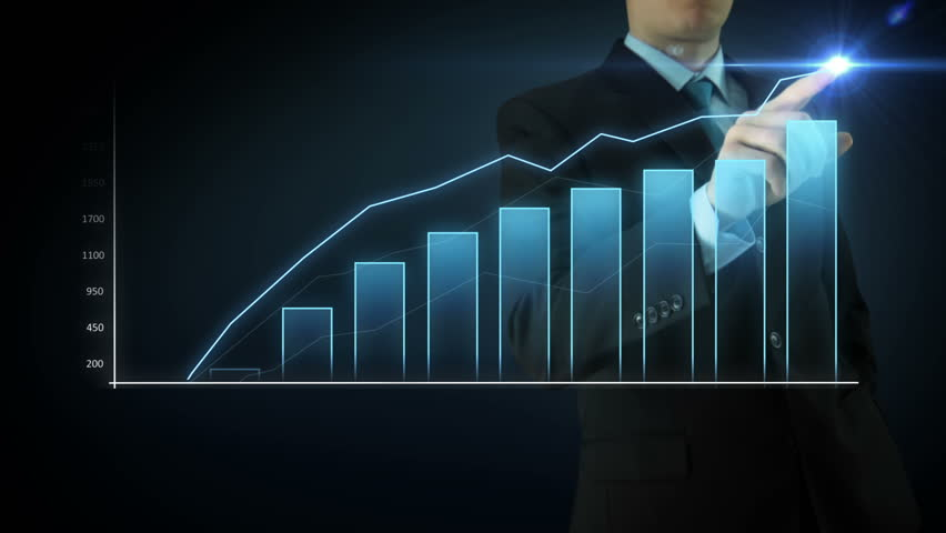 Businessman on an abstract blue background interactivity touch screen and draws Blue big bar graph. Touchscreen Technology motion graphics growing market. | Shutterstock HD Video #8523421