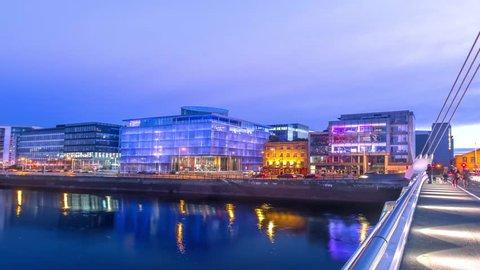 View to night Dockland from Samuel Beckett bridge Dublin Ireland