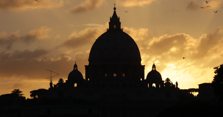 Golden Sunset St. Peter's Basilica Vatican City Rome Italy San Pietro Vaticano ( Ultra High Definition, UltraHD, Ultra HD, UHD, 4K, 2160P, 4096x2160 )