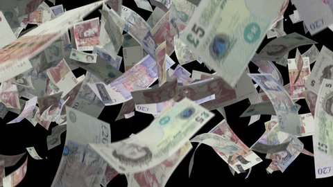 Falling pound sterling money Video Effect simulates Falling Mixed pound sterling banknotes money with alpha channel in 4k resolution