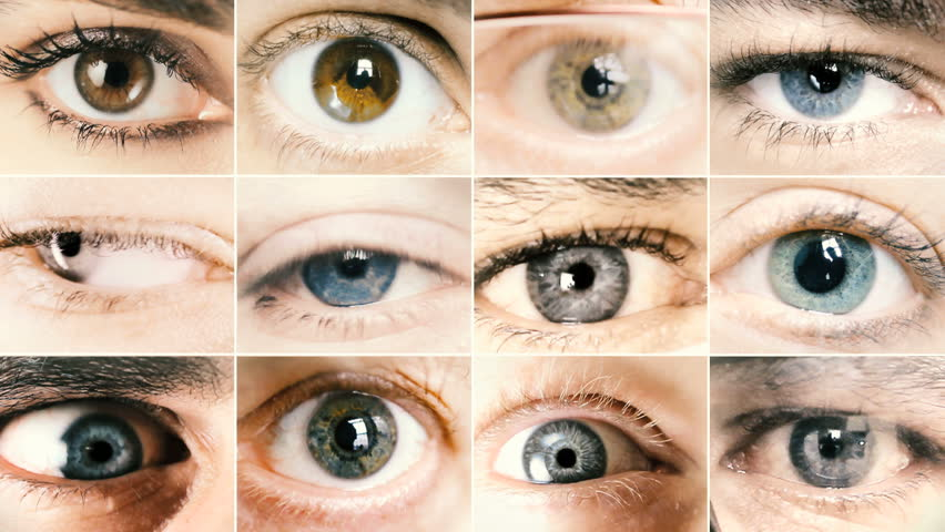 Background collage of different eyes closeup