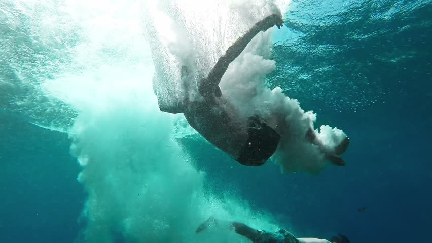 Two Young Men Jumping Into Deep Blue Sea Water Ocean Tropical Location Freedom Exotic Modern Active Lifestyle Hobby Underwater Bubbles Splash Muscular Fit Body Healthy Concept HD Gopro | Shutterstock HD Video #8623741