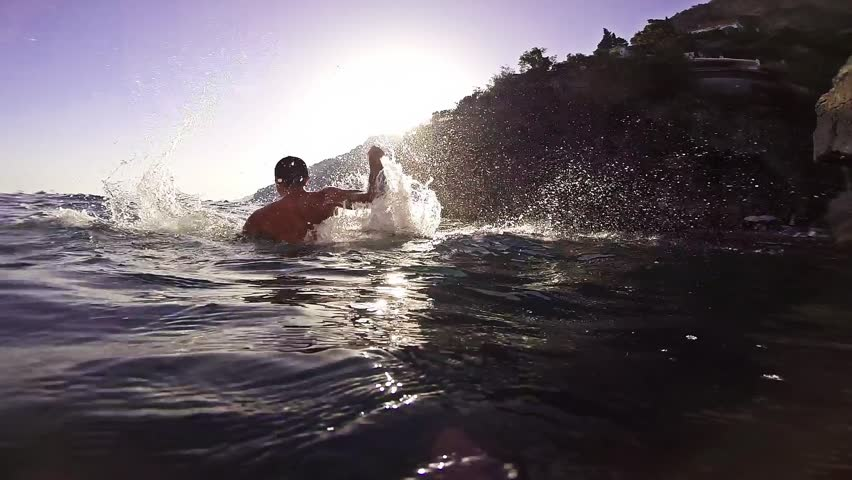 Success Joy Winner Swimmer Water Business Joy Slow Motion Hands Air Screaming Achievement Victory Sun Summer Gopro HD