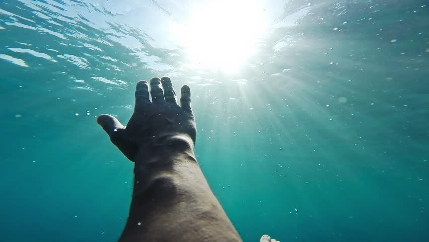 Hand Sinking Deep Underwater Ocean Sea Drown Desperation Hopelessness Sun Rays Shining Surface Trouble Danger Swimmer Salvation Rescue Hope Concept Gopo HD