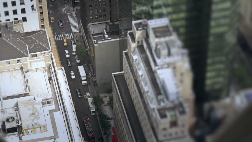 Looking down on city traffic slow motion | Shutterstock HD Video #8625724