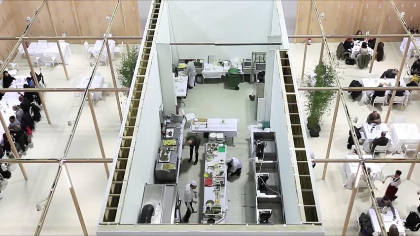 Interior Design Trade Shows milano, italy - january 19, 2015: panoramic view of homi