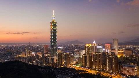 CITY SKYLINE AT SUNSET - TAIPEI, TAIWAN