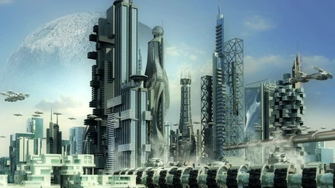Futuristic cityscape with metallic skyscrapers and hoovering aircrafts for science fiction or fantasy animated backgrounds