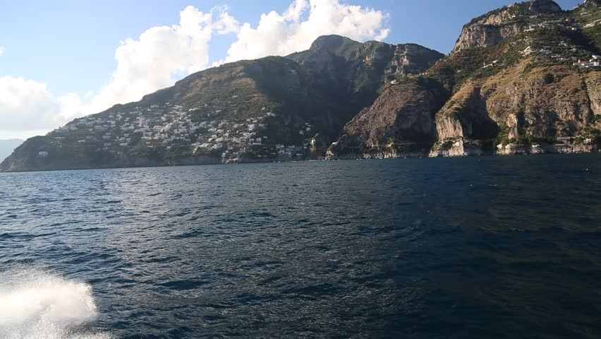 A view of the Amalfi coastline from a boat passing by - HD stock video clip