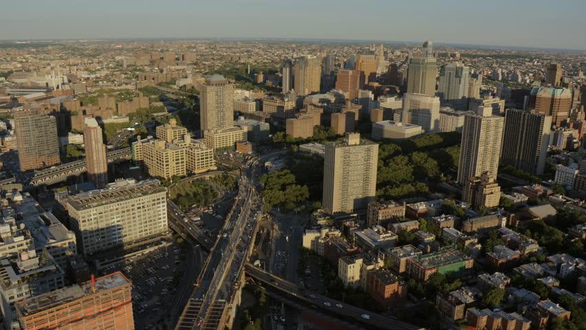 Aerial New York Brooklyn Road Bridge traffic commuter office suburban Downtown Brooklyn District buildings USA RED EPIC | Shutterstock HD Video #8657734