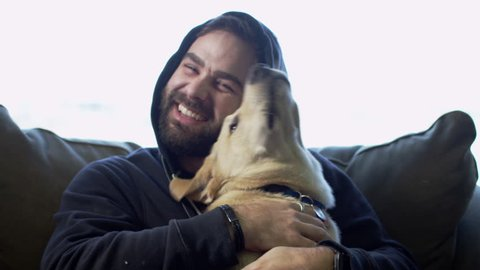 Man Petting Dog on Couch - Happy games with animals