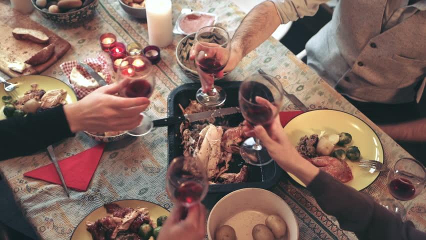 Friends enjoying wine at Christmas dinner #8685979