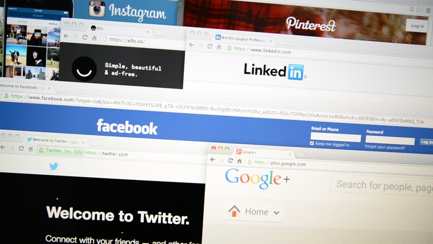LISBON, PORTUGAL - DECEMBER 30, 2014: Screen displays popular social network homepage (Instagram, Pinterest, Ello, LinkedIn, Facebook, Twitter, Google+, WhatsApp).