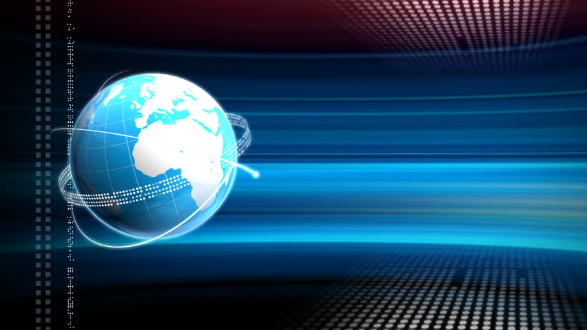 Computer-rendered animation for news TV Channel with blue turning globe and circline.  | Shutterstock HD Video #869896