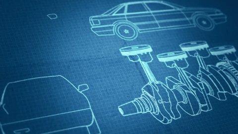 Car's engine plan background. Blueprint animation. Writing on blueprint background.
