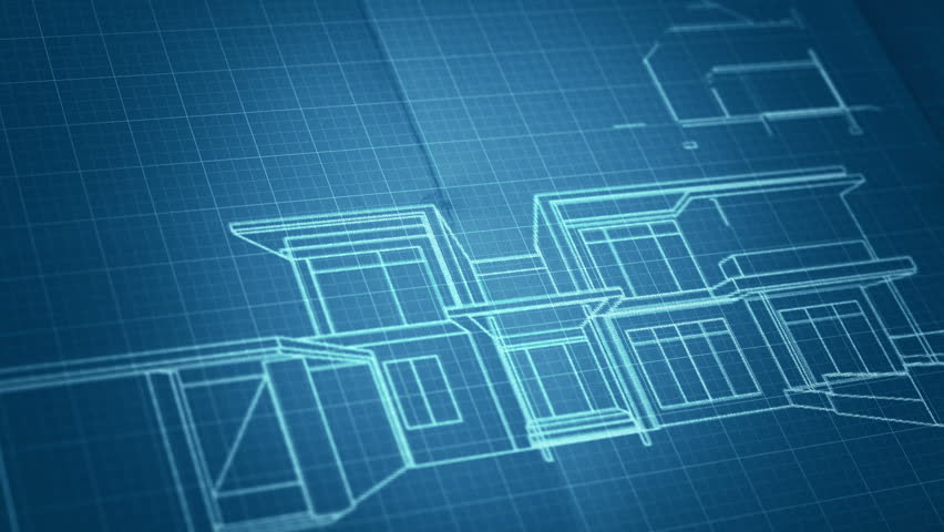 Architecture House Plan Background Blueprint Animation