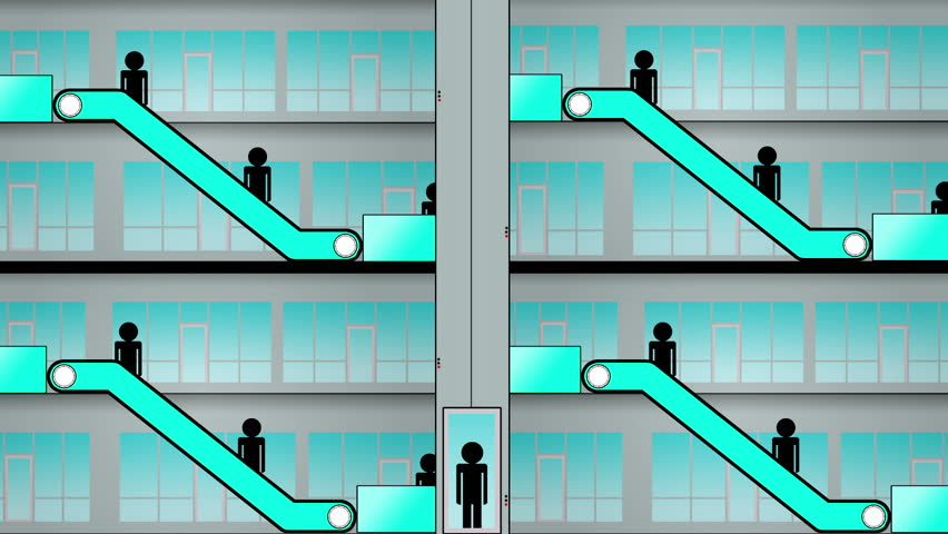 Escalator and elevator animation seamless loop hd stock video clip