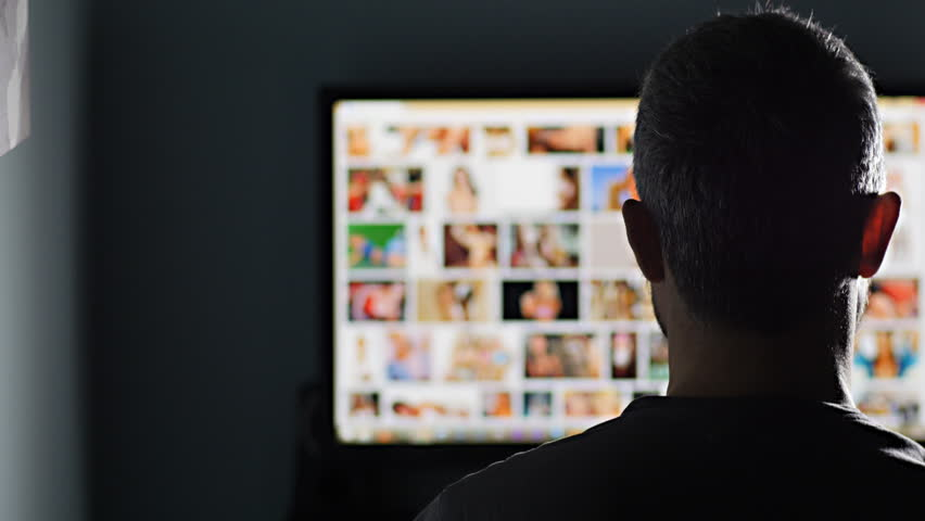 Man Watches Surfing Pornography Site On Pc Looking For Virtual Sex At Night In A Dark -7705