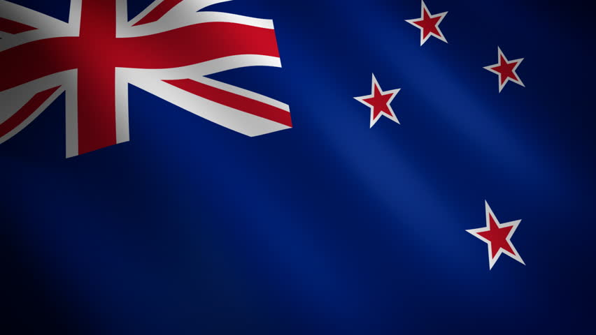 New Zealand looping flag waving in the wind