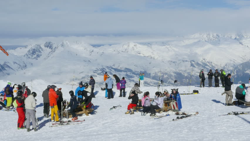 la plagne france january 23 2015 tourists and riders relax in mountain - Travertine Restaurant 2015