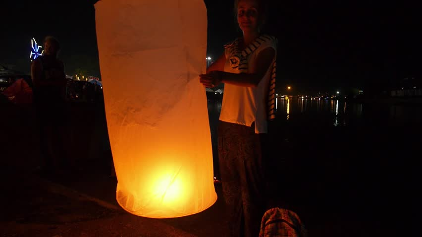 Girl with Sky Lantern at Night - Firework Festival/ Loy Krathong. HD, 1920x1080