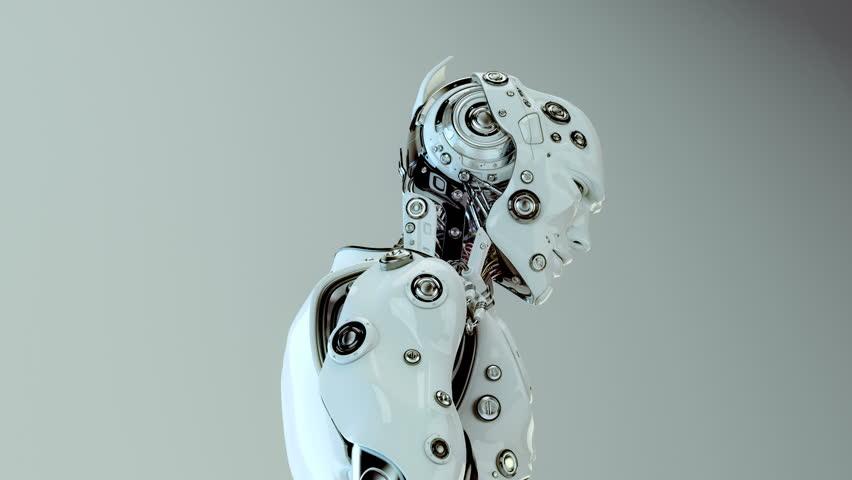 Futuristic humanoid robot/ Stylish robotic character slightly moving | Shutterstock HD Video #8761285