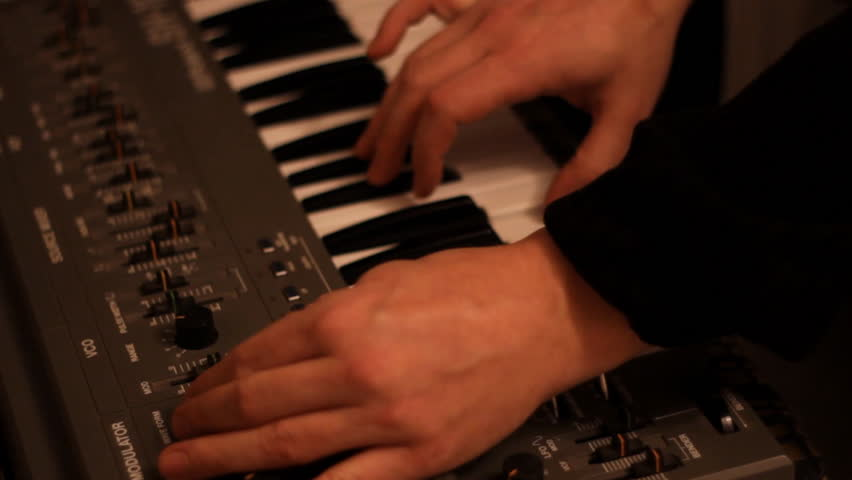 jazz musician playing synthesizer 1920x1080 full hd footage #8791324