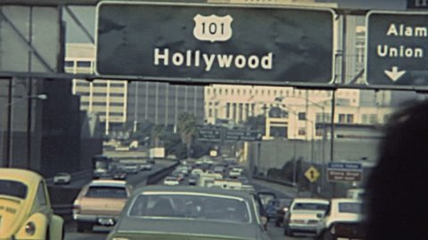 LOS ANGELES - 1980s: driving in the street to Hollywood in 1980s in Los Angeles