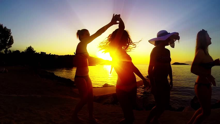 Young fun party people dancing at the beach, SLOW MOTION | Shutterstock HD Video #8798377