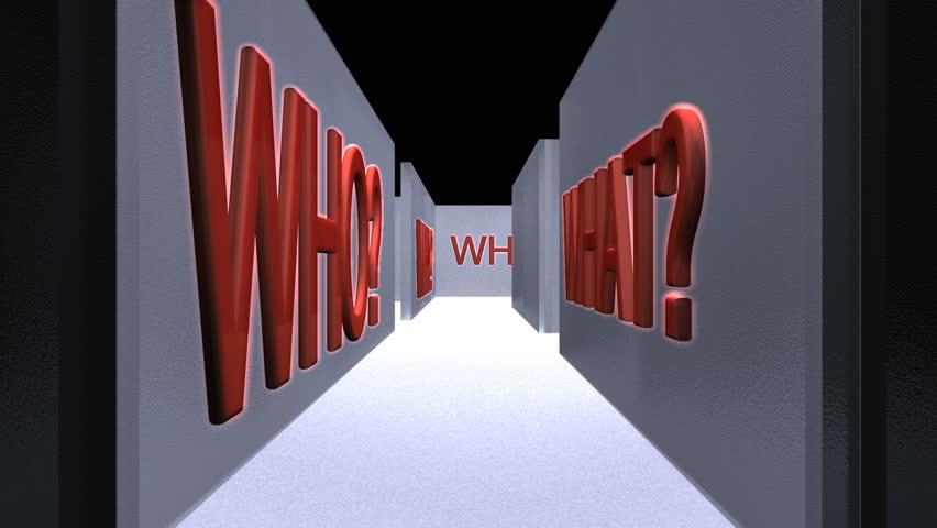 Camera swings through a maze with a large number of Who What Why Which When and Who words. Animation ends with the camera showing a question mark on the wall.