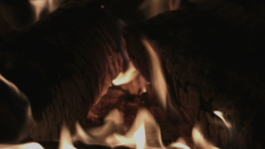 4K UHD Fireplace Fire and Logs in a Slow Combustion Stove #8835394