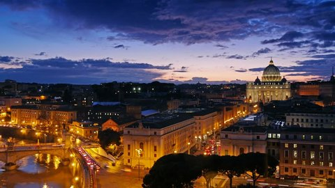 Sunset time-lapse of the Vatican City. UHD, 4K