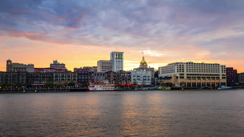 Savannah, Georgia, USA riverfront skyline from day tonight. | Shutterstock HD Video #8841574