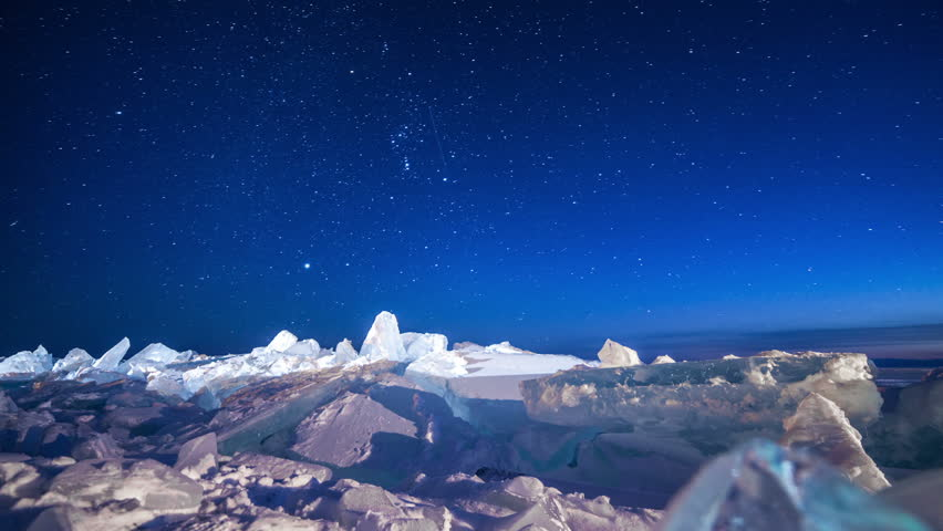 Star sky rotating above ice at night. Time lapse | Shutterstock HD Video #8864944