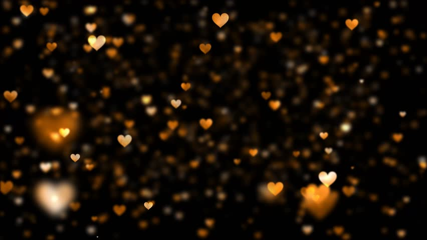 Orange Blurred Hearts Rising On Stock Footage Video 100