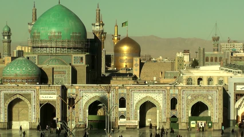 The Imam Reza shrine in Masshad, Iran. It is the largest mosque in the world by dimension and the second largest by capacity.