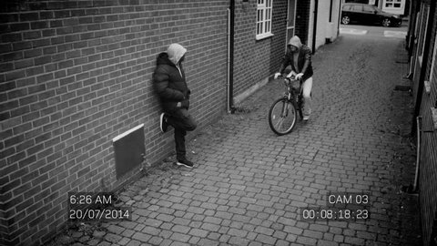 4K CCTV footage of 2 suspicious characters carrying out a drug deal on the street in daylight