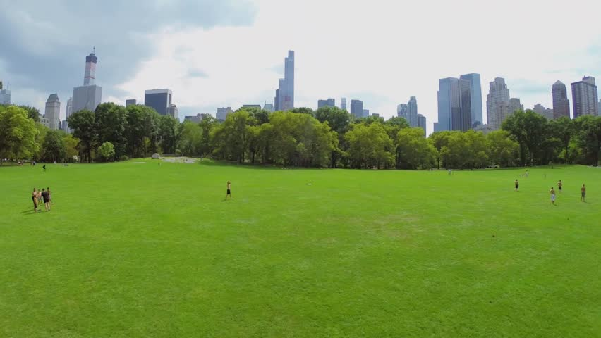 People get fun on Sheep Meadow in Central Park at summer sunny day. Aerial view