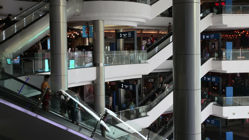 BANGKOK - 16 Feb: Timelapse view of the Terminal 21 shopping mall, one of the few shopping malls that explicitly permits photography on 16 FEBRUARY 2015 in Bangkok, Thailand   Shutterstock HD Video #8909404