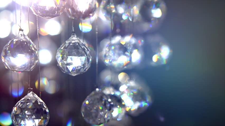 Crystals Closeup Crystal Modern Chandelier Arkivvideomateriale