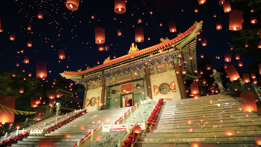 Chinese temple and Floating lanterns in thailand, They are public domain or treasure of Buddhism, no restrict in copy or use, 1920x1080
