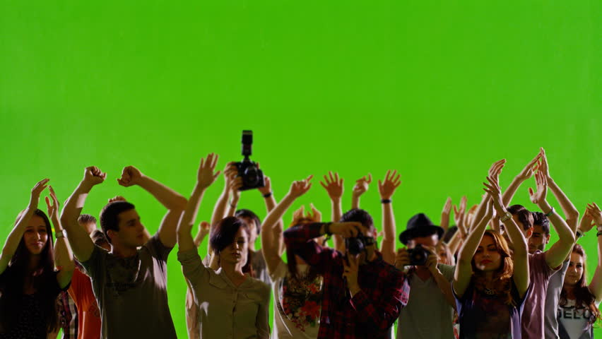 4K Crowd of fans and paparazzi on green screen. Dancing, photo shooting, Slow motion. Shot on RED EPIC Cinema Camera. | Shutterstock HD Video #8954524