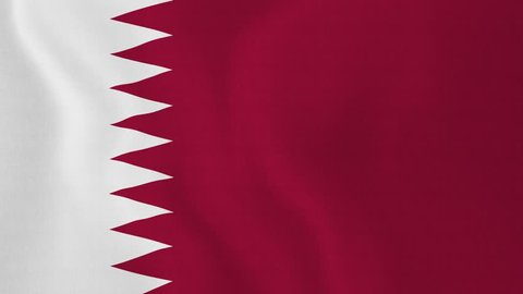 [loopable] Flag of Qatar. Qatari official flag gently waving in the wind. Highly detailed fabric texture for 4K resolution. 15 seconds loop. Source: CGI rendering. Clip ID: ax751c