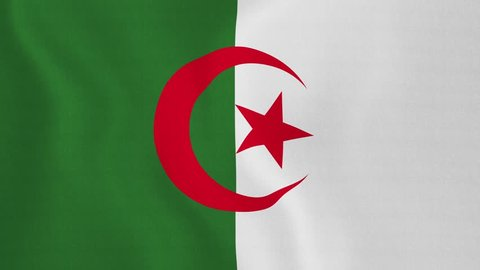 [loopable] Flag of Algeria. Algerian official flag gently waving in the wind. Highly detailed fabric texture for 4K resolution. 15 seconds loop. Source: CGI rendering. Clip ID: ax575c