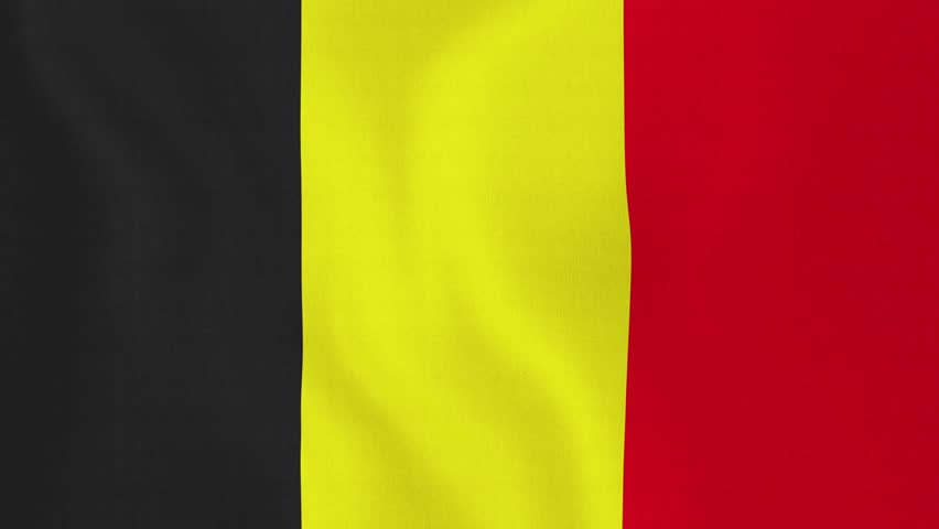 [loopable] Flag of Belgium. Belgian official flag gently waving in the wind. Highly detailed fabric texture for 4K resolution. 15 seconds loop. Source: CGI rendering. Clip ID: ax589c