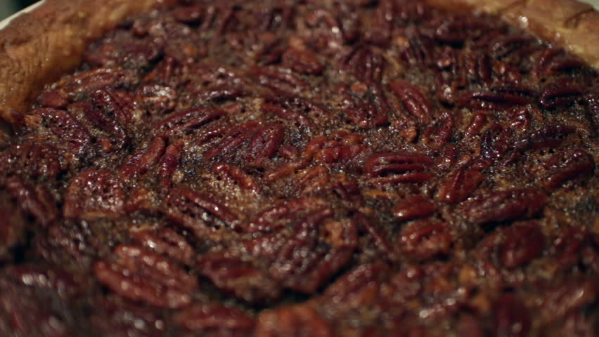 Close up of a pecan pie cooling off.