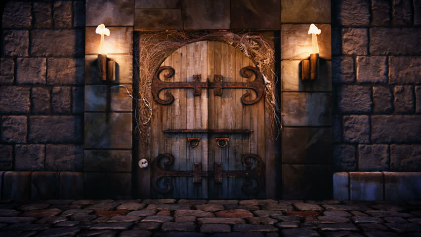1080p Stock Video Of A Spooky Dungeon Door Flanked With Two Flaming Torches And Decorated With Twigs And Skeleton Bones. Stock Footage Video 897724 | ... & 1080p Stock Video Of A Spooky Dungeon Door Flanked With Two ... Pezcame.Com