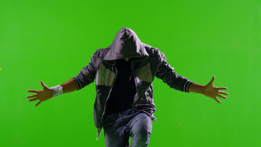 3K FEW SHOTS! Professional Hip Hop break dance. Dancing on Green screen. Few shots. Slow motion.