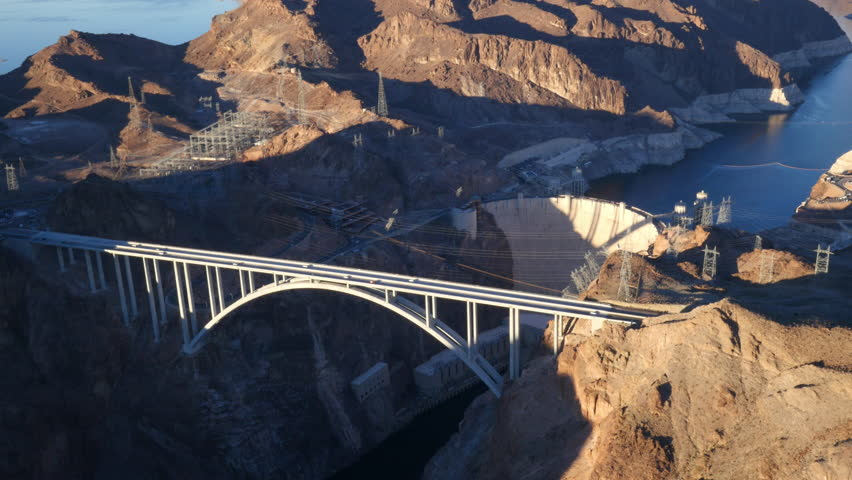 Aerial view of Colorado River Bridge and Hoover Dam | Shutterstock HD Video #8988694