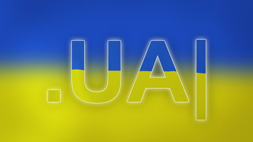 """UA - internet domain of Ukraine. Typing top-level domain """".UA"""" against blurred waving national flag of Ukraine. Highly detailed fabric texture for 4K resolution. Clip ID: ax1057c"""